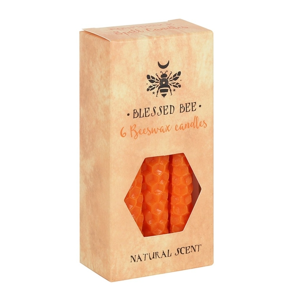 Pack of 6 Orange Beeswax Spell Candles