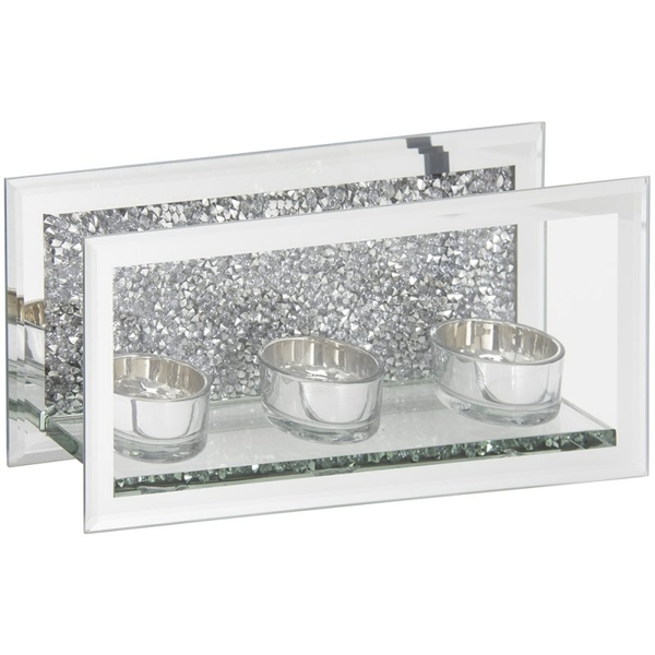 Silver Mirrored and Crushed Crystal Triple Tealight Holder By Lesser & Pavey