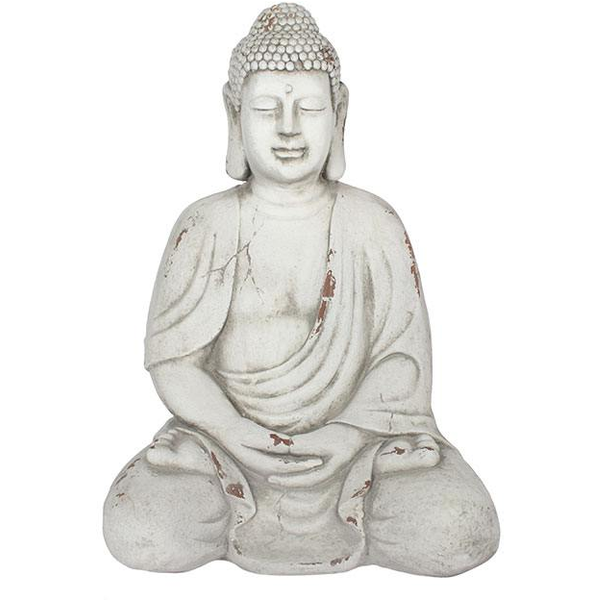 White Small Sitting Garden Buddha