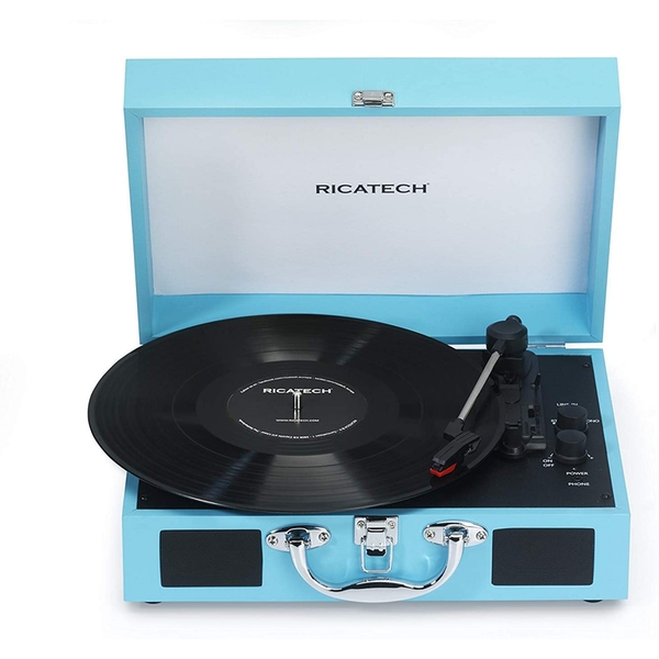 RTT21 Turntable, Lightweight Portable Record Player With Speakers (Blue)