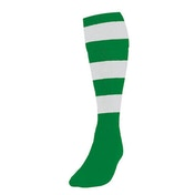 Precision Hooped Football Socks Large Boys Emerald/White