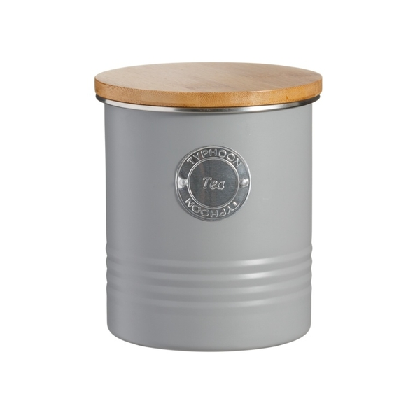 Typhoon Living Airtight Tea Storage Canister with Bamboo Lid Grey 1 Litre