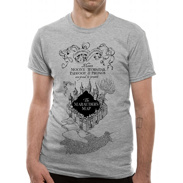 Harry Potter - Marauders Map Men's X-Large T-Shirt - Grey