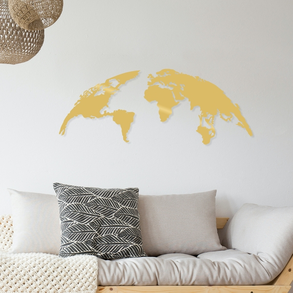 World Map Small - Gold Gold Decorative Metal Wall Accessory