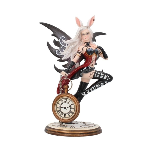 Rabbit and Clock Wonderland Fairy Figurine