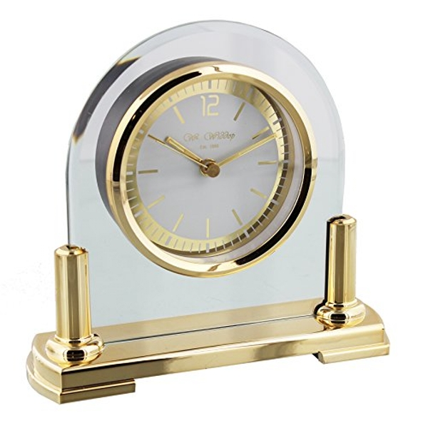 Arched Glass Mantel Clock - Gold Stand