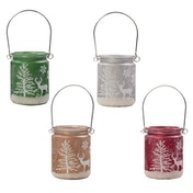 Christmas Scene (Pack Of 4) Hanging Candle Jar