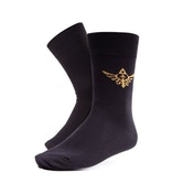 NINTENDO Legend of Zelda Crew Socks with Embroidered Royal Crest for Size 43/46, Black