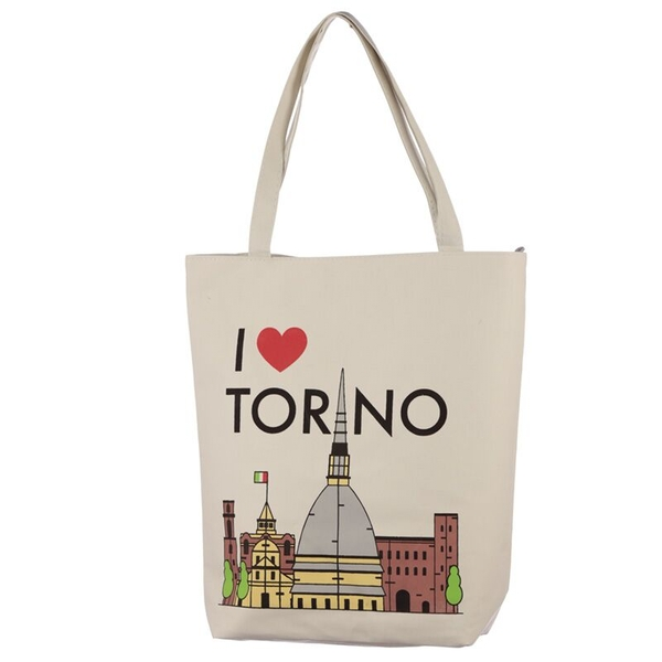 I Heart Torino Handy Cotton Zip Up Shopping Bag
