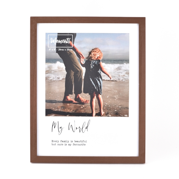 """Moments Wooden Photo Frame with Mount 8"""" x 8"""" - My World"""