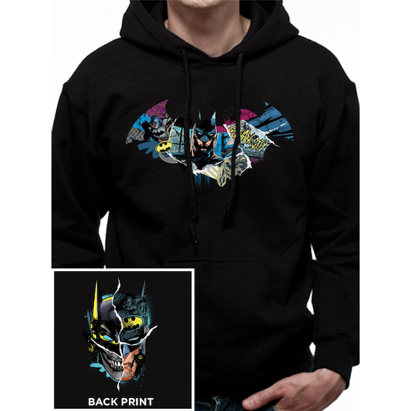 c2f50bc87c3b Hey! Stay with us... Batman - Gotham Face Men s Small Hooded Sweatshirt ...