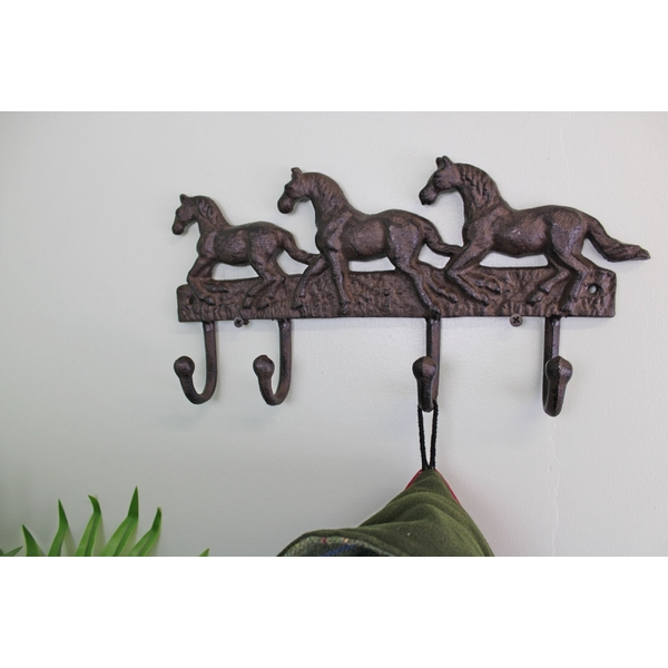 Rustic Cast Iron Wall Hooks, Three Horses