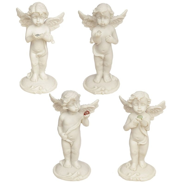 Cherub Standing Holding Mineral Stone (Pack Of 4) Ornament