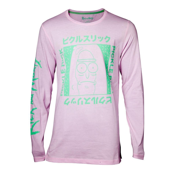 Rick And Morty - Japan Pickle Men's Large Long Sleeved Shirt - Pink
