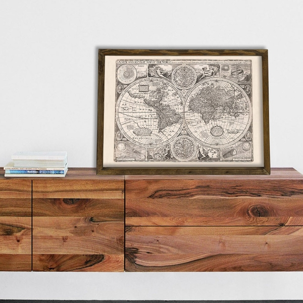 Map023 Multicolor Decorative Framed MDF Painting