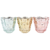 Set of 3 Rustic Romance Glass Candle Holders