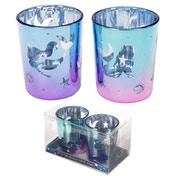 Mermaid (Set of 2) Glass Candleholder