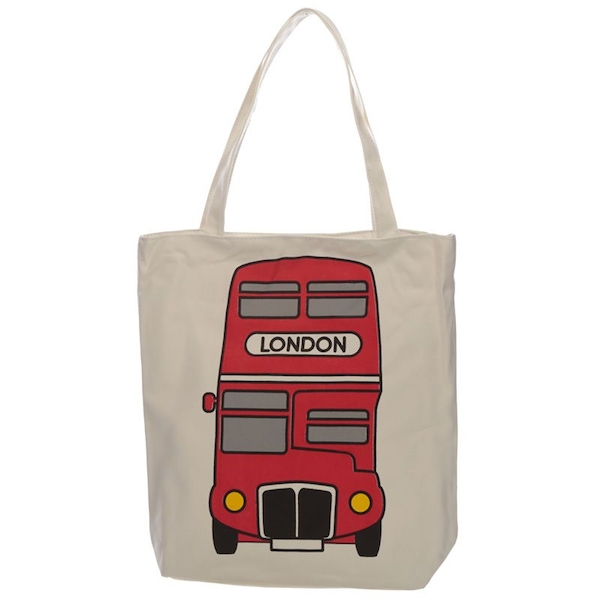 London Bus Cotton Bag with Zip and Lining