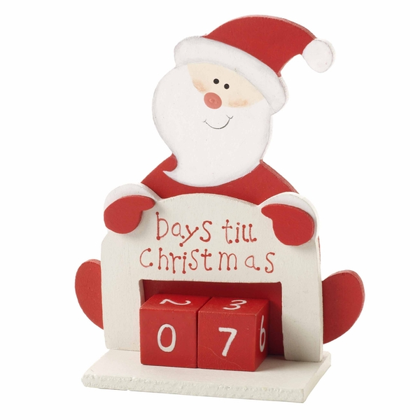 Days Til Until Christmas Advent Xmas Wooden Santa Countdown Calendar by Heaven Sends