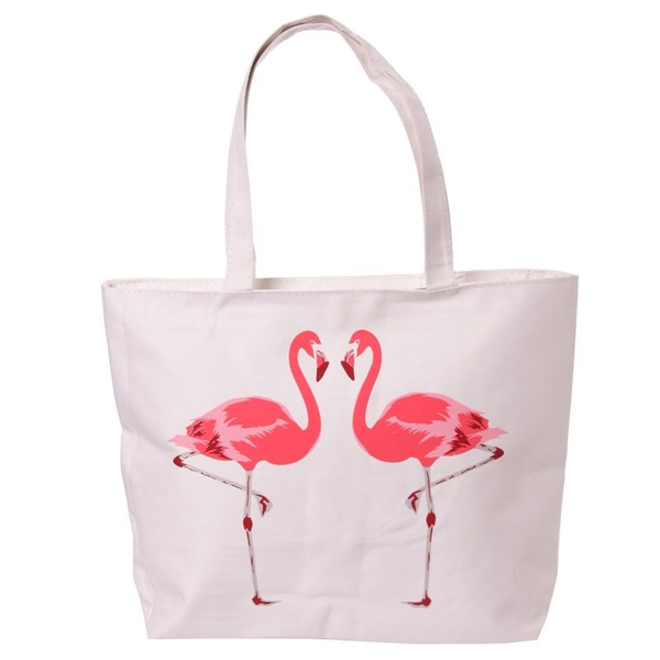 Flamingo Design Cotton Bag with Zip and Lining