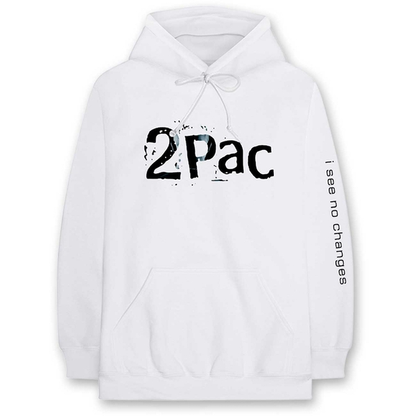 Tupac - I See No Changes Men's Large Pullover Hoodie - White