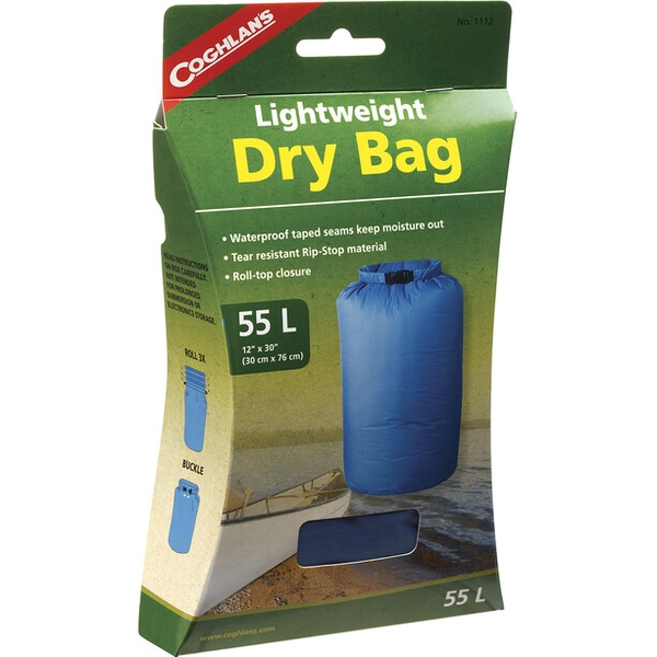 "Coghlans 55L Lightweight Dry Bag Blue  12"" x 30"" (30 x 76 cm)"
