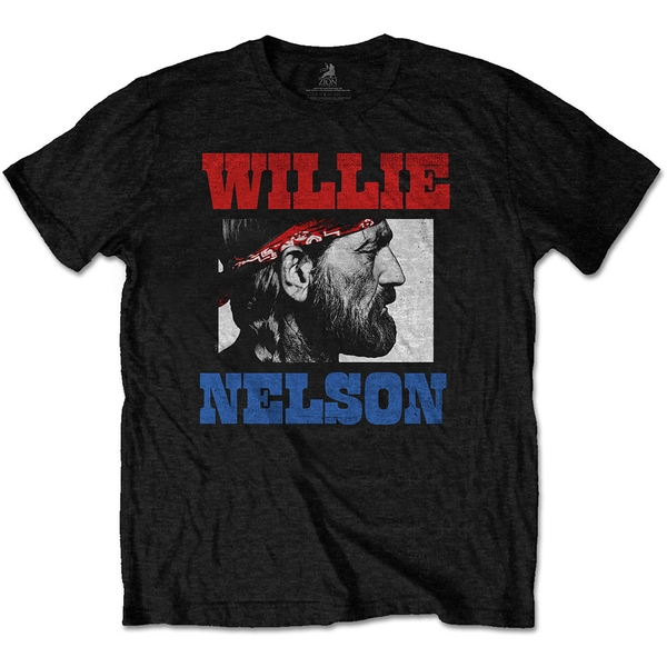 Willie Nelson - Stare Unisex Large T-Shirt - Black