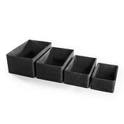 Paper & Cotton Makeup Closet Storage Boxes - Set of 4 | M&W Black