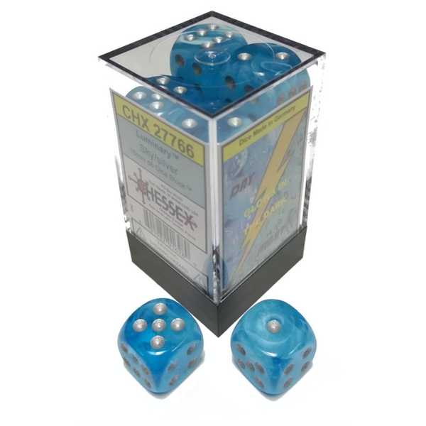 Chessex 16mm D6 Dice Block - Luminary Sky w/silver