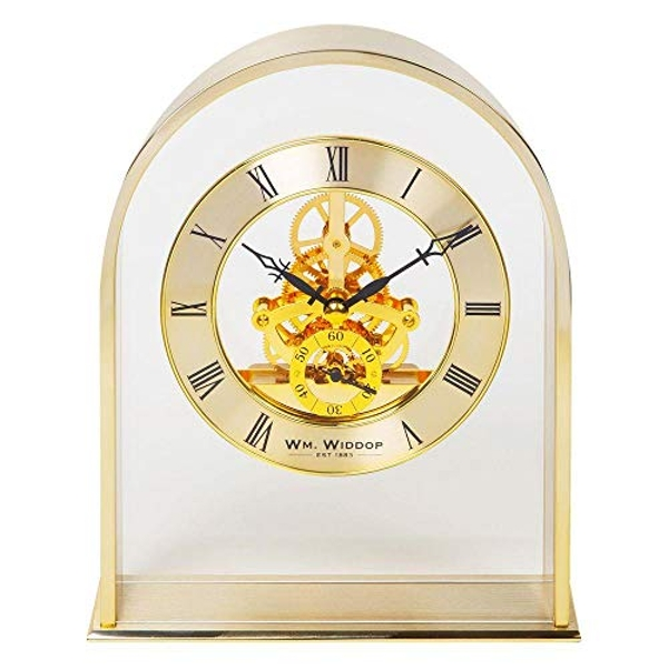 Gold Arch Mantel Clock with Skeleton Mvmnt
