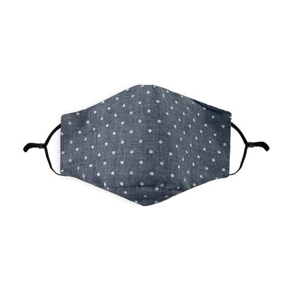 Grey Melange Mini Polka Dot Printed 100% Cotton Face Mask