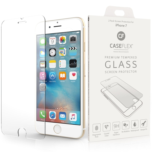 Caseflex iPhone 7 Glass Screen Protector - Twin Pack (Retail Box)