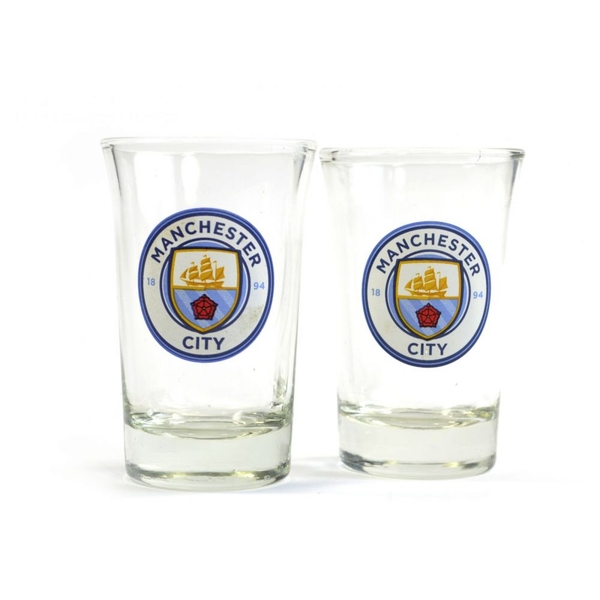 Man City Two Pack Home Word Mark Shot Glasses