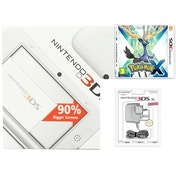 White Nintendo 3DS XL Console Bundle with Pokemon X and Power Adapter