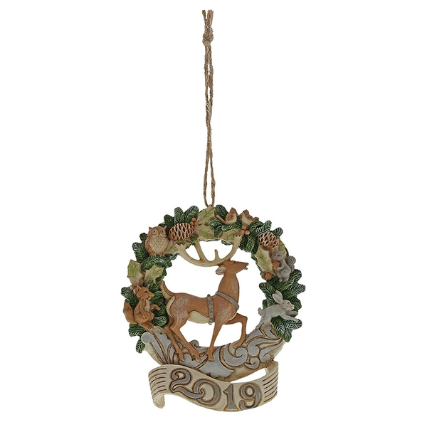 White Woodland Deer 2019 Hanging Wreath Ornament