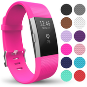 Yousave Strap Single (Large) - Hot Pink compatible with Fitbit Charge 2