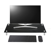 (Damaged Packaging) Regular Black Glass Monitor & TV Screen Display Stand Riser With Adjustable Legs Green House