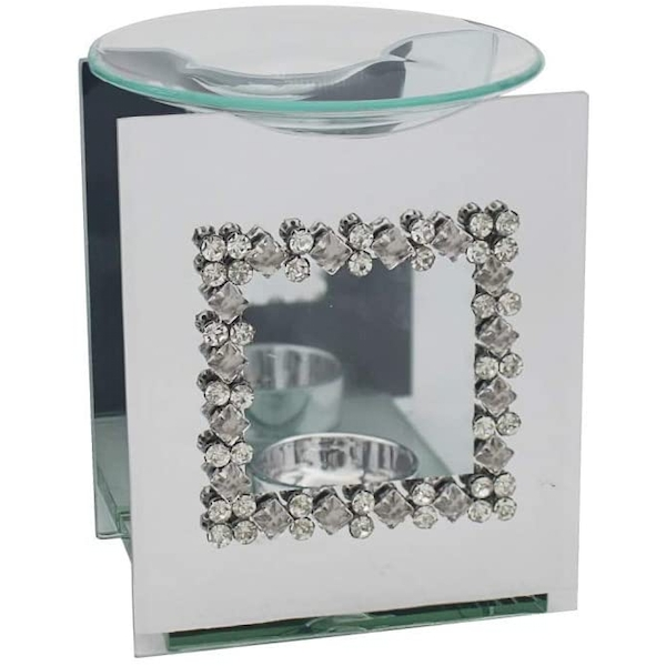 Mirror Diamante Wax Melter With Square Diamante Design By Lesser & Pavey
