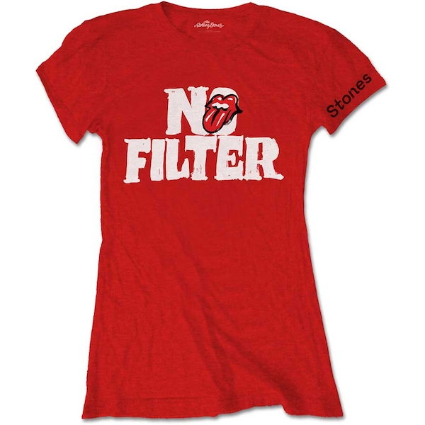 The Rolling Stones - No Filter Header Logo Women's Small T-Shirt - Red