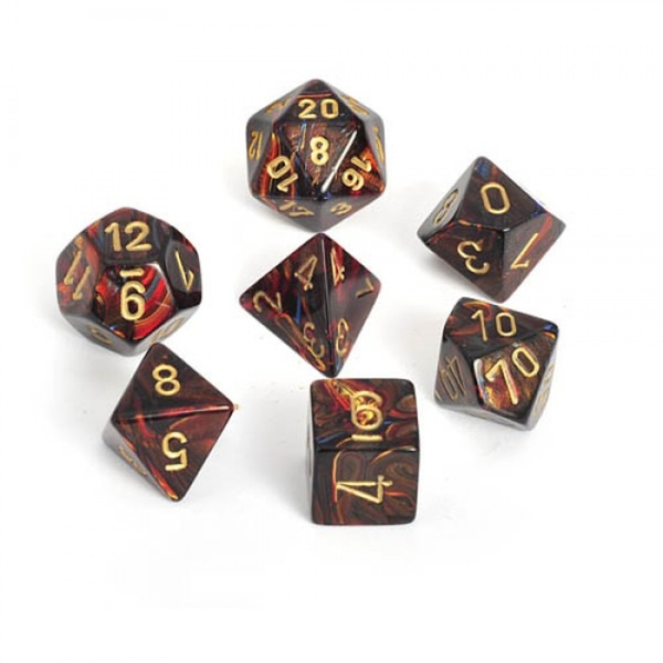 Chessex Poly 7 Dice Set: Scarab Blue Blood/gold