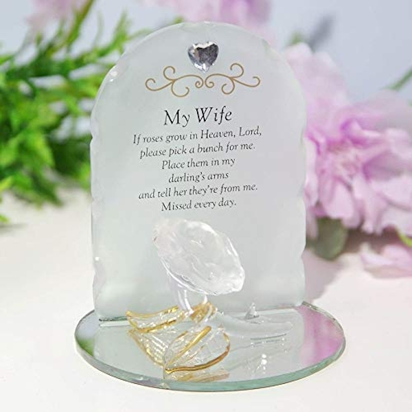 Thoughts Of You Glass Rose Sentiment Ornament - My Wife