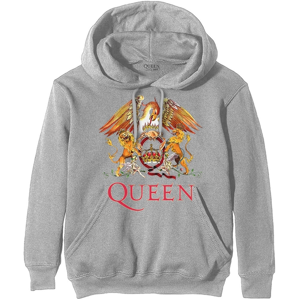 Queen - Classic Crest Men's X-Large Pullover Hoodie - Grey