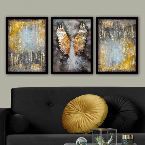 3SC11 Multicolor Decorative Framed Painting (3 Pieces)