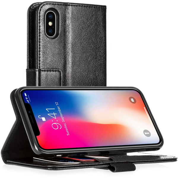 Apple iPhone X ID Leather Wallet Case  - Black