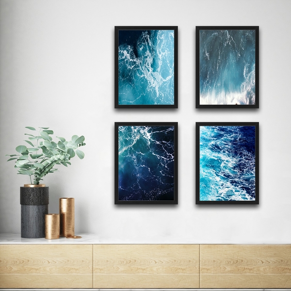 Waves Set 1 Multicolor Decorative Framed Painting (4 Pieces)