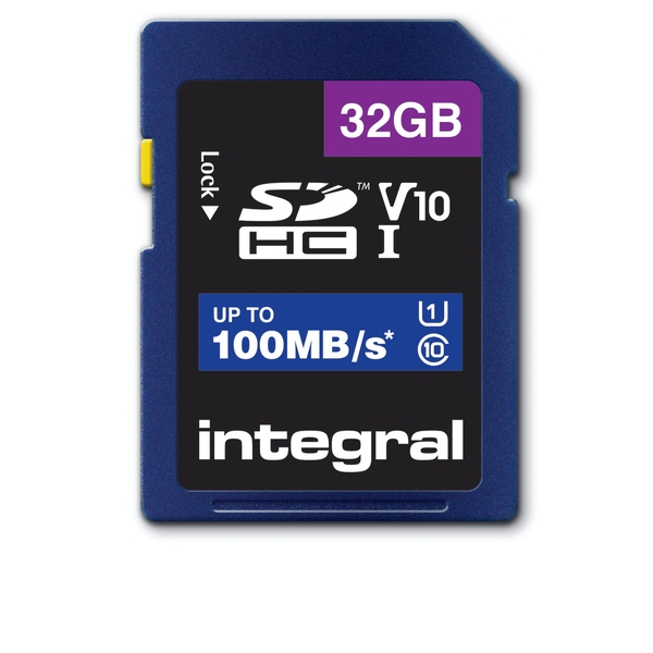 Integral 32GB SD Card SDHC UHS-1 U1 Cl10 V10 Up To 100Mbs Read