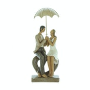 Rainy Day Collection Couple Seated Resin Figurine | 24cm