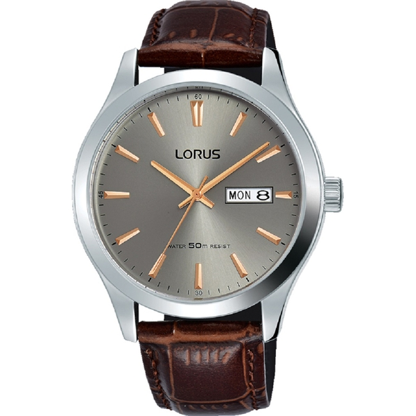 Lorus RXN61DX9 Mens Padded Brown Leather Strap Dress Watch with Sunray Grey Dial