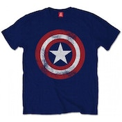Captain America Distressed Shield Men's Large T-Shirt - Navy