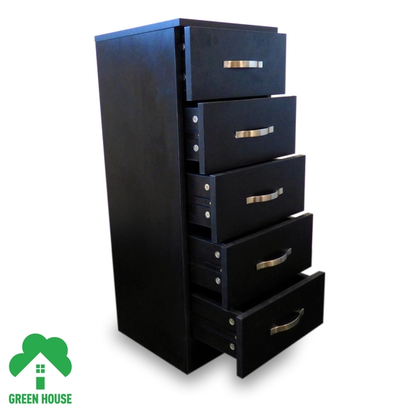 5 Chest Of Drawers Black Bedside Cabinet Dressing Table Bedroom Furniture Wooden Green House - Image 3
